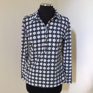 J. McLaughlin small navy combo button down blouse